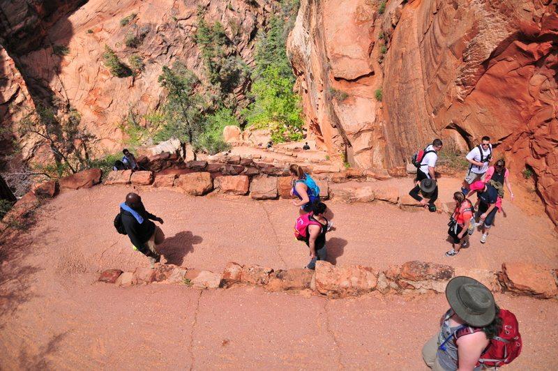 hiking, falling, hikers, trail
